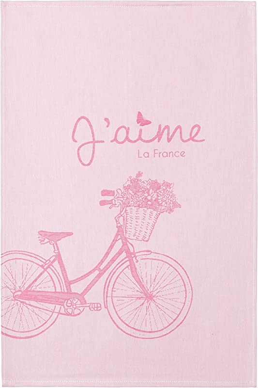 COUCKE French Jacquard Cotton Kitchen Dish Towel Paris Collection Bicycle 20 Inches By 30 Inches Pink
