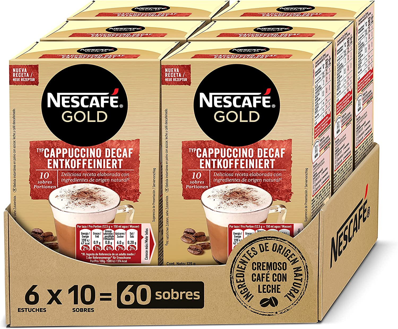 NESCAFÉ GOLD CAPPUCCINO DESCAFEINADO, cremoso café soluble descafeinado con leche desnatada, Pack de 6 estuches con 10 sobres, TOTAL 60 sobres