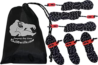 Chill Gorilla 6 Pack 4mm Reflective Tent Guide Rope Guy Line Cord & Adjusters. Lightweight for Rain Tarps, Tents, Hiking, Backpacking. Essential Camping Survival Gear & Accessories. 78 feet.