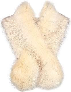 Damen Kunst Pelz Schal Flauschig Faux Pelz Umschlagtuch Kragen für Wintermantel 1920er Jahre Flapper Accessoires Outfit Warm Zubehör 120 cm lang
