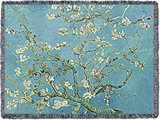 Pure Country Weavers | Almond Blossoms Woven Tapestry Throw Blanket by Vincent Van Gogh with Fringe Cotton USA Cotton USA 72x54