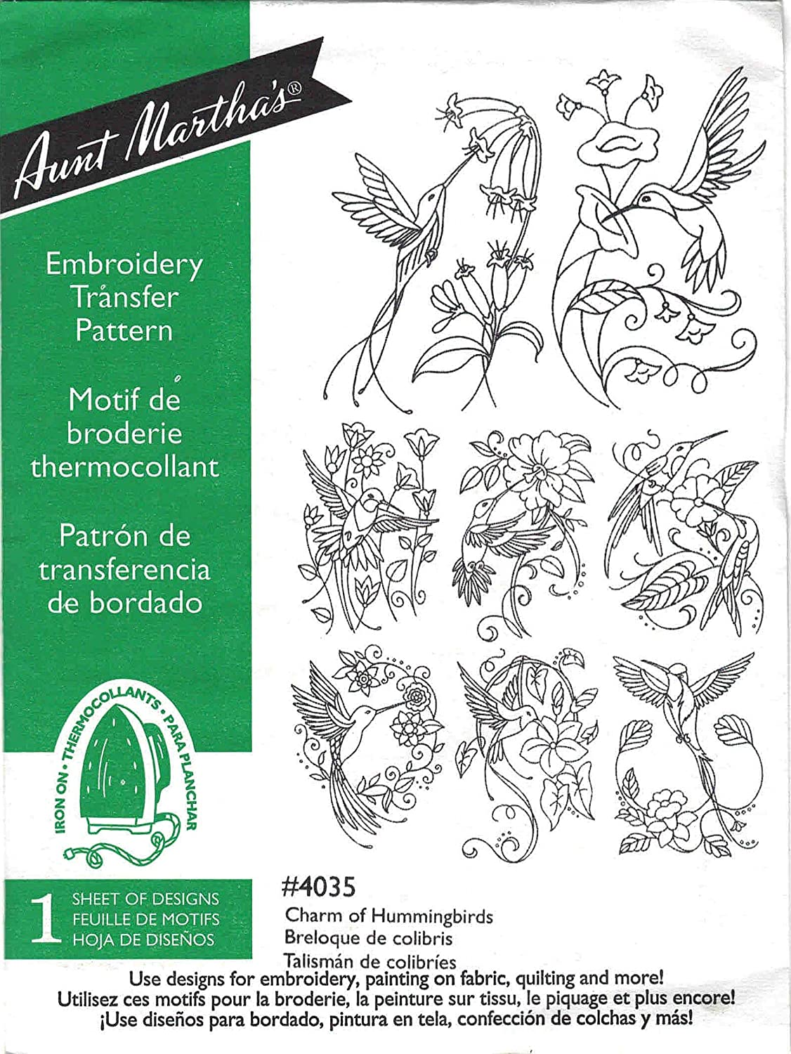 Charm of Hummingbirds Aunt Indianapolis Mall Martha's Transfer Embroidery Hot latest Iron