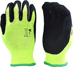 6 Pairs Pack Premium High Visibility Low emissions Green Work and gardening Gloves for Men and Women. MicroFoam Textured Latex Waterproof Coated Palm and Fingers Gloves for Gardening Work, Size Large
