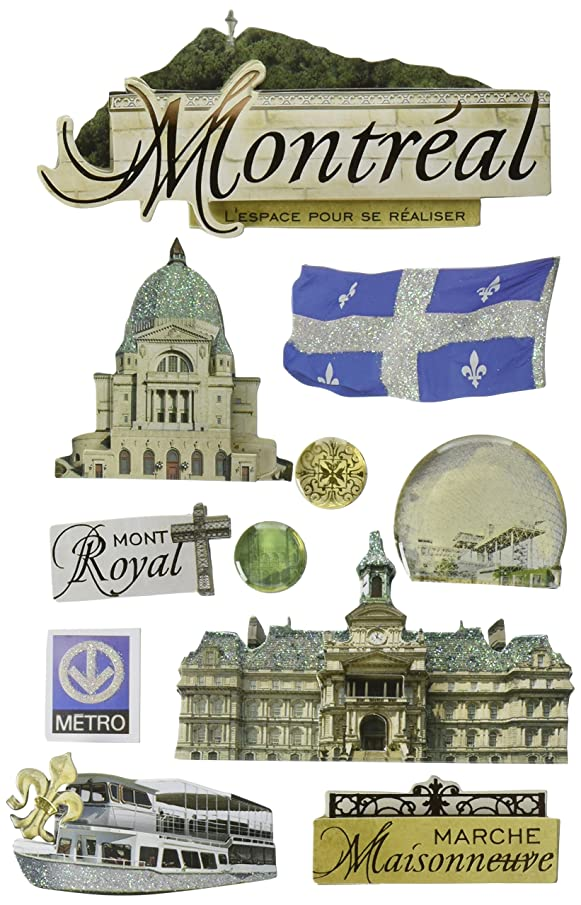Paper House Productions STDM-0167E 3D Cardstock Stickers, Montreal (3-Pack)