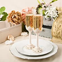 Fashioncraft Vintage Champagne Glasses Baroque Design Antique Ivory Set of Toasting Flutes, One Size,