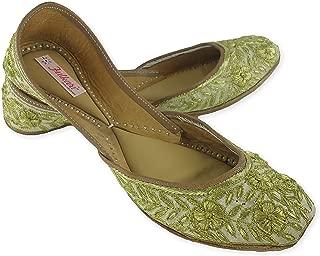 Fulkari Women's Soft Leather Bite and Pinch Free Zari Flower Gold Flat Jutti Ethnic Shoe