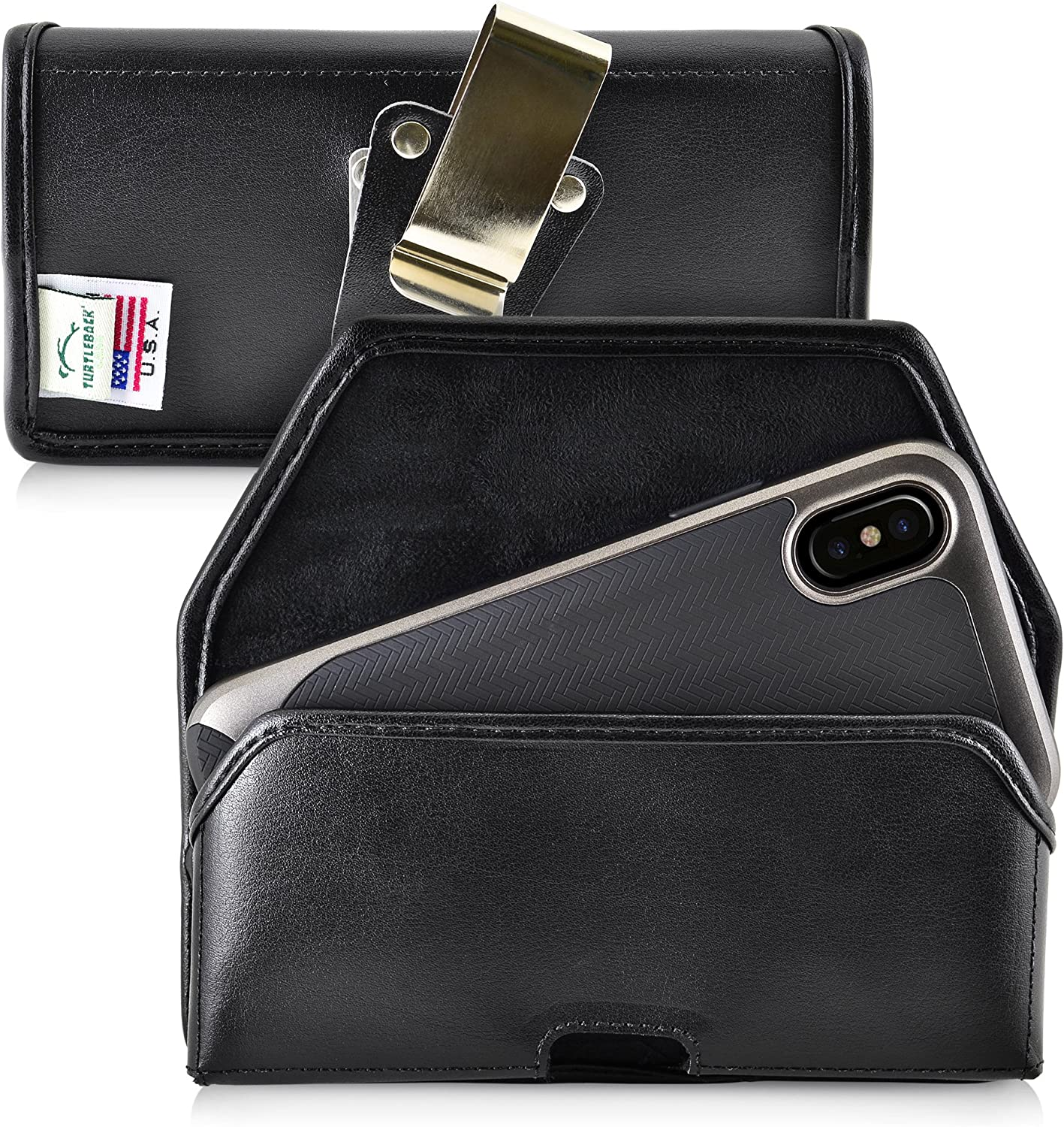 Turtleback Belt Case Designed for iPhone 11 Pro (2019) iPhone Xs (2018) and iPhone X (2017) Holster Black Leather Pouch with Heavy Duty Rotating Belt Clip, Horizontal Made in USA