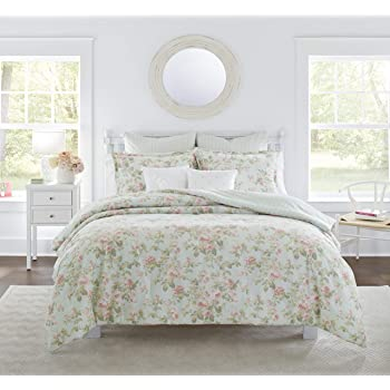 Laura Ashley Home Madelynn Collection Luxury Ultra Soft Comforter, All Season Premium Bedding Set, Stylish Delicate Design for Home Décor, Full/Queen, Duck Egg