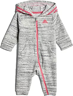 adidas Baby Boys' and Baby Girls Long Sleeve Hooded Coverall (Light Grey/Velour, 3 Months)