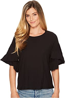 Drop Shoulder Tiered Ruffle Sleeve Top