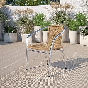 Flash Furniture Commercial Aluminum and Beige Rattan Indoor-Outdoor Restaurant Stack Chair