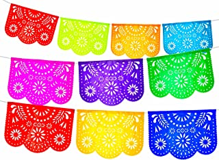 Fiesta Brands 2 Pack. Mexican Papel Picado Banner.Colores de Primavera.Vibrant Colors Tissue Paper. Large Size Panels. Multicolored Flowers Design