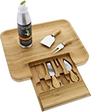 Beautiful Bamboo Cheese Board & Knife Set For Mom, Mother, Housewarming & Wedding Gift - Elegant Wood Meat Platter Charcuterie Set - Exclusive Cheeseboard With 4 Cheese Knives & Conditioning Oil Spray