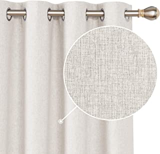 Deconovo 100 Blackout Curtains Grommet Faux Linen Room Darkening Thermal Curtains Energy Saving Noise Reducing Drapes for Sliding Glass Door Khaki 52x96 Inch 2 Panels