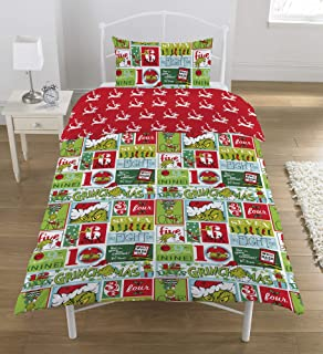 The Grinch 12 Days of Christmas 2 Piece UK Single/US Twin Sheet Set, 1 x Double Sided Sheet and 1 x Pillowcase