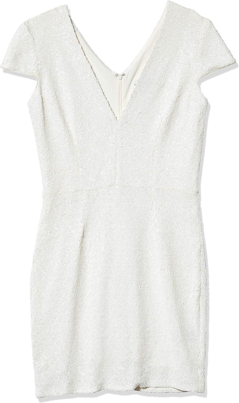 Dress the Population Women's Zoe Cap Sleeve Plunging Sequin Mini Dress, White, XL
