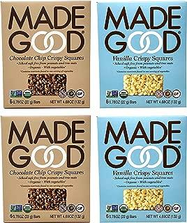 Made Good Organic Crispy Squares Variety Pack of 4 – Vanilla and Chocolate Chip Crispy Squares - Tree-Nut and Peanut-Free, Gluten-Free, Vegan, Kosher (12 Squares Per Flavor)
