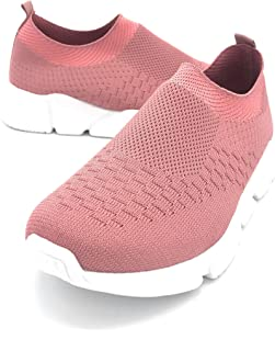 Blue Berry EASY21 Women Breathable Light Weight Fashion Slip-On Flyknit Athletic Sports Casual Walking Shoes