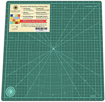 """Calibre Art Self Healing Rotating Cutting Mat, Perfect for Quilting & Art Projects, 18x18 (17"""" Grid)"""