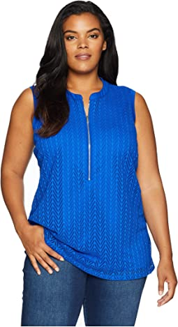 Plus Size Sleeveless Leaf Top w/ Zipper