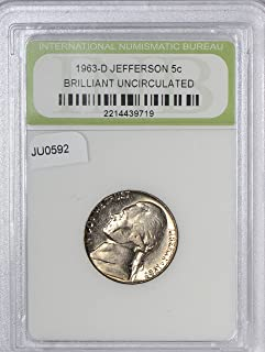 1963 IE JU0592 US Nickel D Jefferson Brilliant Uncirculated DE PO-01