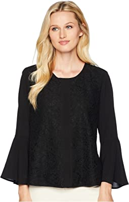 Lace Front Bell Sleeve Blouse