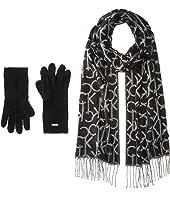 Calvin Klein Oversized CK Logo Scarf and Gloves Set