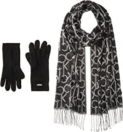 Oversized CK Logo Scarf and Gloves Set