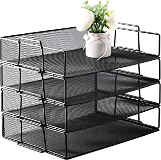 Grin-Black color file literature metal wire mesh tray desk organizer-For letter sized paper files, mail organization. Trays come in a 4-tier set, perfect for classification organization in office home