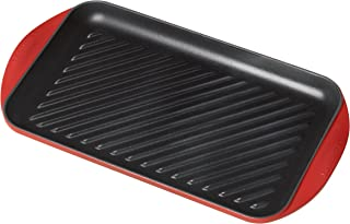 "Le Creuset Enameled Cast Iron Extra Large Double Burner Grill, 15-3/4"" x 9"" x 1"" , Cerise"