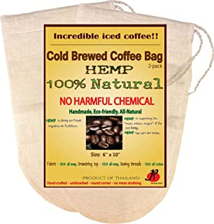 Reusable Cold Brew Coffee Filter bags by P&F(2 Pack) | FULL TASTE | NO HARMFUL CHEMICAL IN YOUR COFFEE ANYMORE | Strainer Socks for Cold Brewed Iced Coffee Maker | Fits 64oz Ball Mason Jar