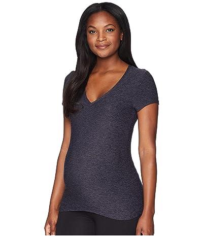 Beyond Yoga Maternity Featherweight Spacedye V-Neck Tee (Black/Steel) Women