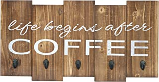 "Barnyard Designs Life Begins After Coffee Mug Holder - Rack - Display, Rustic Farmhouse Wood Coffee Wall Decor Sign for Kitchen, Bar, Cafe 25"" x 13"""