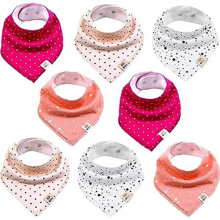 Pink 6-Piece Baby dreieckige Tuch Bib Spucktuch mit Snaps 3er Saugf/ähig Weich Spucktuch L/ätzchen Baumwolle Halst/ücher