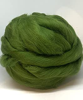 100% Natural Wool roving, 8 OZ. Best Highland Wool for Needle Felting, handcrafts and Spinning. (Grass Green)
