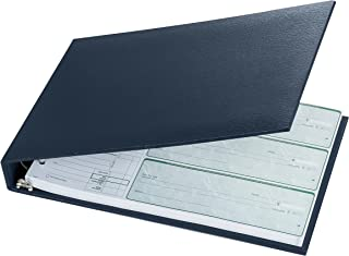 Executive 7 Ring Check Binder, 500 Check Capacity, for 9x13 Inch Sheets, with 6 Year Calendar Organizer, Sleek Business Design, Premium Quality - Navy Color (11705)