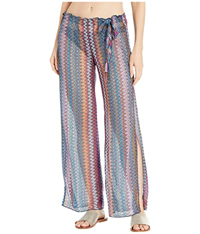 BECCA by Rebecca Virtue Wander Crochet Sheer Side Slit Pants Cover-Up (Multi) Women