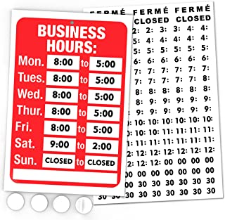 Open Signs, Business Hours Sign Kit - Bright Red and White Colors - Includes 4 Free Double Sided Adhesive Pads and a Black Vinyl Number Sticker Set - Ideal Signage for any Business, Shop, Store or Office - Display Your Personalized Hours of Operation on Your Front Window