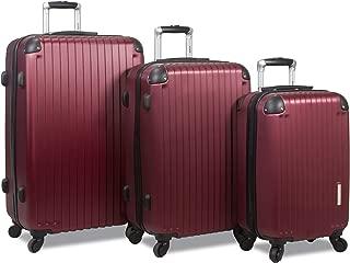 Prism 3-Piece Hardside Spinner Combination Lock Luggage Set-Burgundy