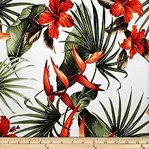 Trans-Pacific Textiles Rayon Challis Paradise Found White Fabric