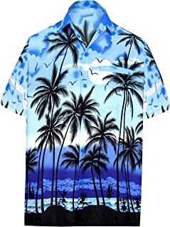 LA LEELA Men's Hawaiian Shirt Beach Button Down Short-Sleeve Front Pocket Shirt