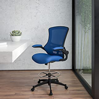 Flash Furniture Mid-Back Blue Mesh Ergonomic Drafting Chair with Adjustable Foot Ring and Flip-Up Arms