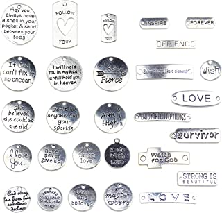Aokbean 56pcs Inspirational Word Charms Pendant Beads for Necklace Bracelets Jewelry Making Supplies DIY Craft