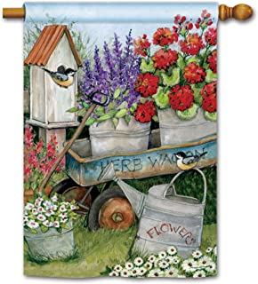BreezeArt Studio M Garden Wagon Decorative Standard House Flag Banner – Premium Quality, 28 x 40 Inches