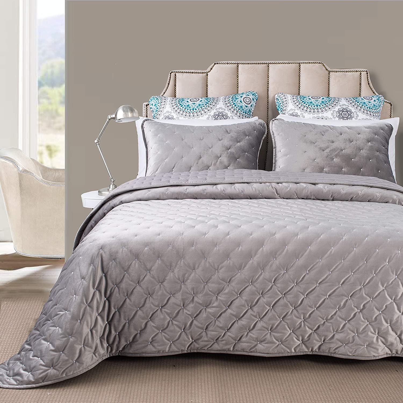DriftAway 3 Daily bargain sale Piece Popular product Velvet Quilt Cover Coverlets Bedspreads Pr Set