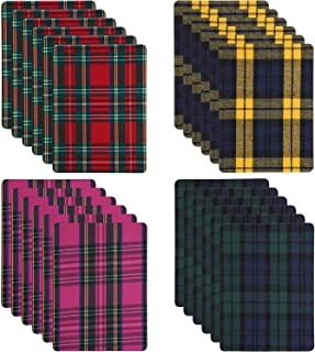 24 Pieces Buffalo Plaid Iron-on Patches Plaid Fabric Patches Plaid Heat Transfer Vinyl Patches for Clothing Jeans, 5.12 x 7.09 Inch