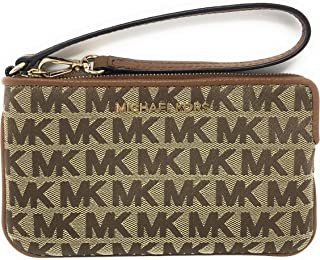 Michael Kors Jet Set Travel Large Top Zip Wristlet - Signature Monogram (Beige/Ebony)