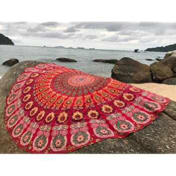 Bondi Blue Mandala Tapestry with Large Terry Microfiber Towel 72 Inches Circle Hippie Yoga Mat or Bohemian Beach Throw Boho Cotton Picnic Rug Folkulture Round Beach Blanket or Thick Beach Towel
