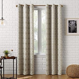 """Sun Zero Barnett Trellis Blackout Grommet Curtain Panel, 40"""" x 95"""", Taupe"""