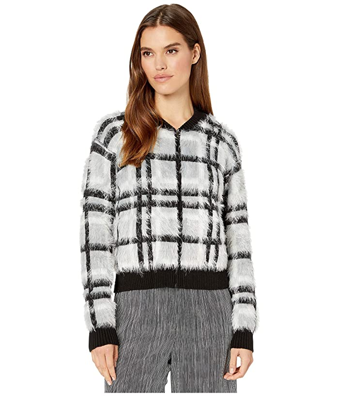 1.STATE  Zip Front Plaid Eyelash Sweater (Silver/Blush) Womens Sweater